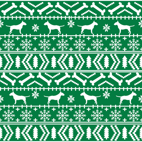 Bull Terrier fair isle christmas dog silhouette fabric green  fabric by petfriendly on Spoonflower - custom fabric