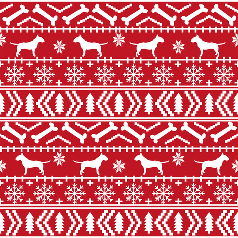 Bull Terrier fair isle christmas dog silhouette fabric red fabric by petfriendly on Spoonflower - custom fabric