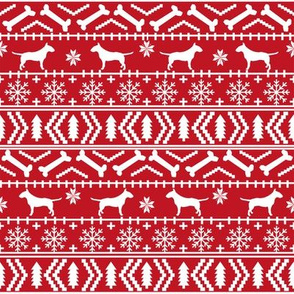 Bull Terrier fair isle christmas dog silhouette fabric red