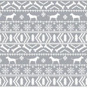 Bull Terrier fair isle christmas dog silhouette fabric grey