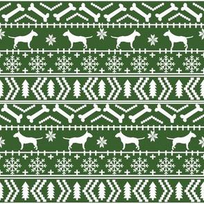 Bull Terrier fair isle christmas dog silhouette fabric med green
