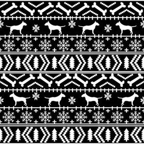 Bull Terrier fair isle christmas dog silhouette fabric black and white