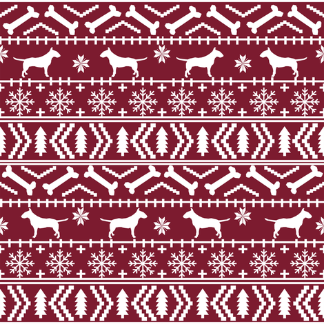 Bull Terrier fair isle christmas dog silhouette fabric ruby fabric by petfriendly on Spoonflower - custom fabric