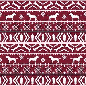 Bull Terrier fair isle christmas dog silhouette fabric ruby