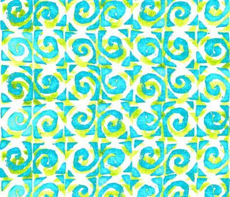 Koru Teal Lime 150 fabric by kadyson on Spoonflower - custom fabric