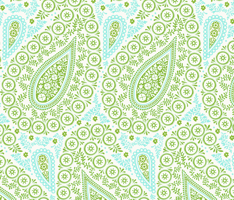 Perfect Paisley Green fabric by littlerhodydesign on Spoonflower - custom fabric