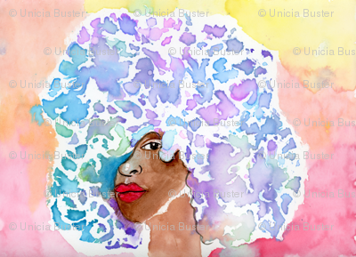 Watercolor Woman with Colorful Afro