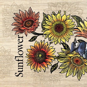 Sunflowers & Blue jay tea_towel_