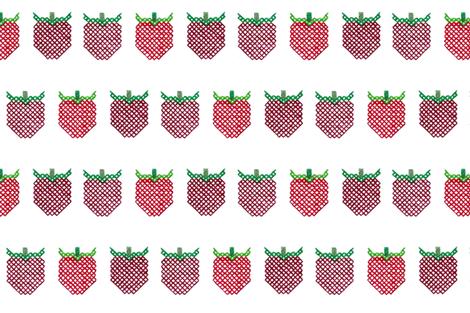 Cross Stitch Strawberries fabric by kate's_kwilt_studio on Spoonflower - custom fabric