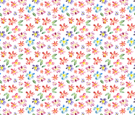 Hand drawn floral pattern, watercolor fabric by katerinaizotova on Spoonflower - custom fabric