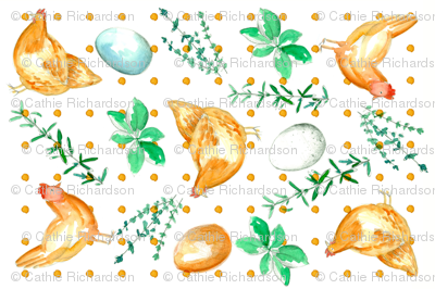 Chickens, Eggs, and Herbs Tea Towel