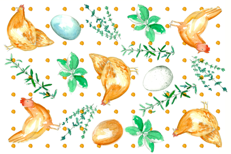 Chickens, Eggs, and Herbs Tea Towel fabric by countrygarden on Spoonflower - custom fabric
