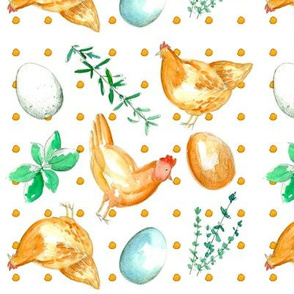 Chicken, Eggs, and Herbs