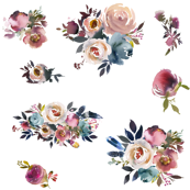 Fall Floral Blues and Dark Pinks Smaller