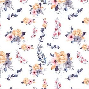 Peach Pink and Purple Floral Smaller