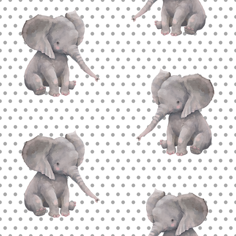 "8"" Elephant with Polka Dots  fabric by shopcabin on Spoonflower - custom fabric"
