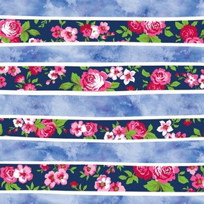 Wavy Floral Watercolour Stripes Pink & Navy