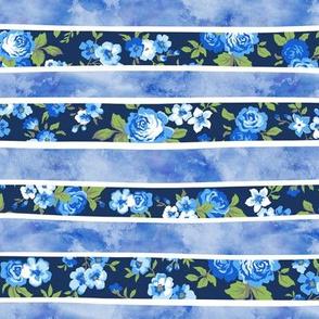 Wavy Floral Watercolour Navy Blue