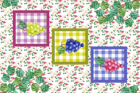 Framed Appliqued Grapes with Leaf Swag fabric by khowardquilts on Spoonflower - custom fabric