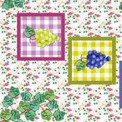 Framed Appliqued Grapes with Leaf Swag