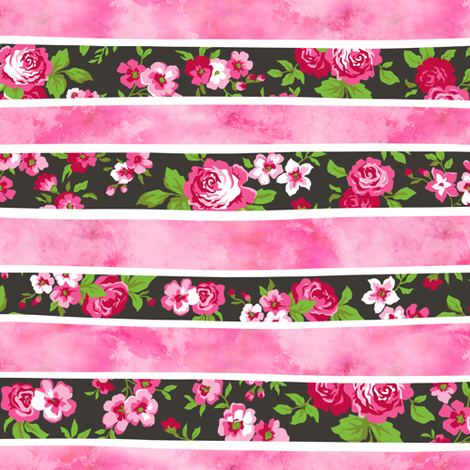 Wavy Floral Watercolour Stripes Pink fabric by caja_design on Spoonflower - custom fabric