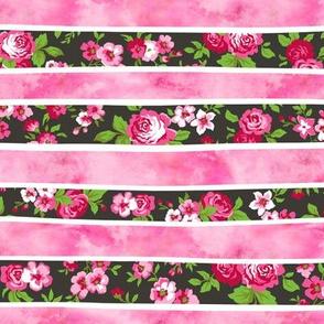 Wavy Floral Watercolour Stripes Pink
