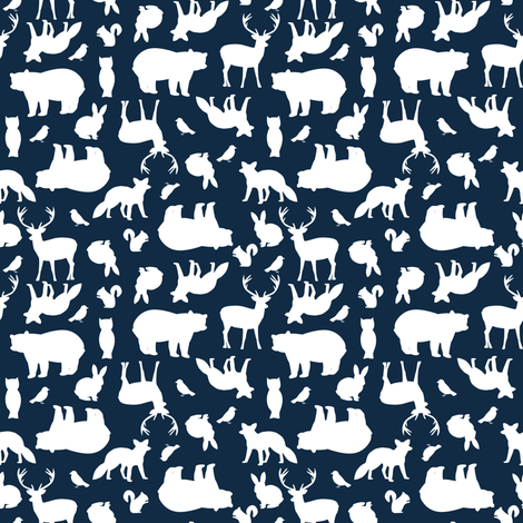 Custom Woodland Party at Midnight fabric by mintpeony on Spoonflower - custom fabric