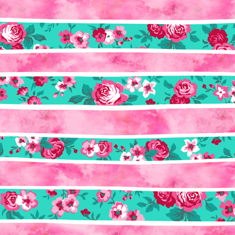 Wavy Floral Watercolour Stripes Pink & Mint Green fabric by caja_design on Spoonflower - custom fabric