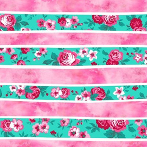 Wavy Floral Watercolour Stripes Pink & Mint Green