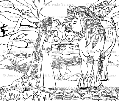 Black & White DIY coloring of Forest of tomorrow