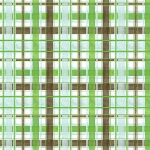 Bright Watercolor Blue Green and Brown Plaid