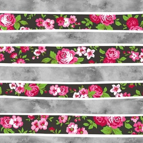 Wavy Floral Watercolour Stripes Pink & Grey