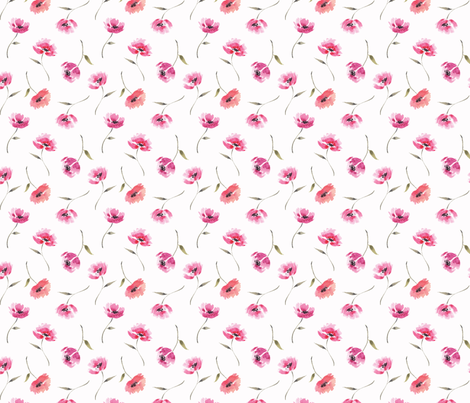 Tossed Red Flowers Watercolors fabric by tailormadeshop on Spoonflower - custom fabric