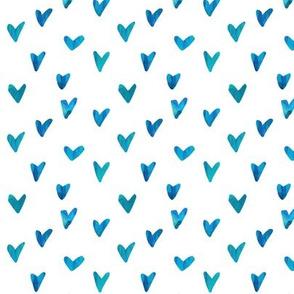 Watercolor Hearts - Seafoam and Blue
