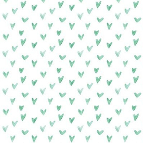 Watercolor Hearts - Light Green