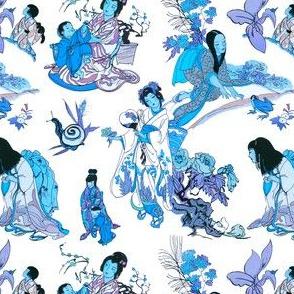 Vintage Japanese Garden Illustrations in Pottery Blue + Porcelain White