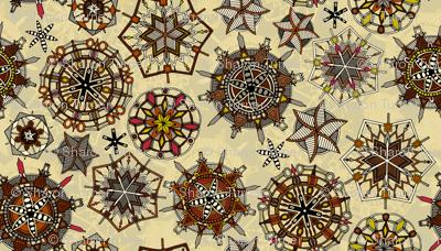 vintage mandala snowflakes