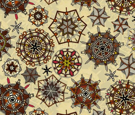 vintage mandala snowflakes fabric by scrummy on Spoonflower - custom fabric