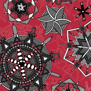 mandala snowflakes red
