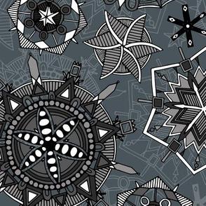 mandala snowflakes metal