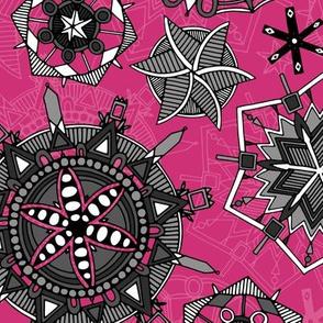 mandala snowflakes pink