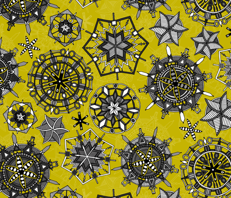 mandala snowflakes chartreuse   fabric by scrummy on Spoonflower - custom fabric