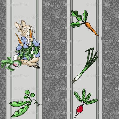 Peter Rabbit Garden Stripe Gray - Medium Scale