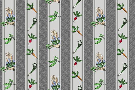 Peter Rabbit Garden Stripe Gray - Medium Scale fabric by aspenartsstudio on Spoonflower - custom fabric