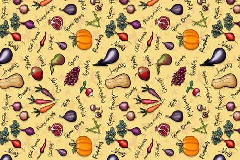 Autumn Harvest Fruits and Veggies fabric by artistkierstan on Spoonflower - custom fabric