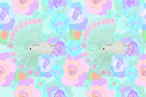 Farmers_Peacock_and_flowers fabric by ruthjohanna on Spoonflower - custom fabric