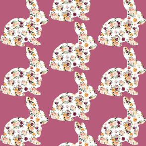 """6"""" Floral Bunny Silhouettes on Mauve"""