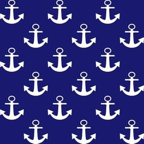 One Inch White Anchors on Midnight Blue