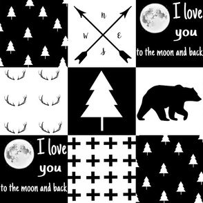 MONOCHROME wholecloth - woodland - love you to the moon