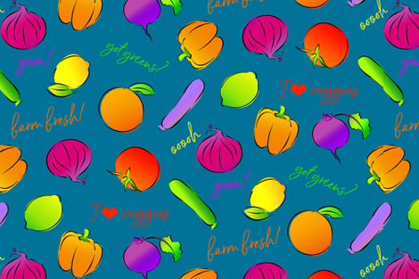 I Heart Veggies! fabric by ileneavery on Spoonflower - custom fabric